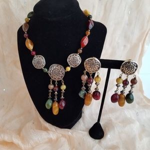 Beaded Dangling Earrings and Necklace